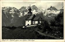 Dorf Au Salzburg Österreich s/w AK 1928 gelaufen Kapelle gegen Lofer Steinberg