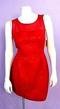 Womens Mac & Jac Candy Apple Red Sheer Top Sheath Dress Size 12 Sexy Yet Classy