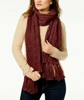 MICHAEL KORS  Knit Fringe Scarf Cable Knit Dark Red One Size $68