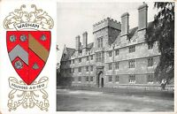 POSTCARD    OXFORD     UNIVERSITY   WADHAM  College  &  Coat  of  Arms