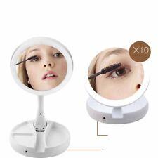 10x Magnifying Double Side Makeup Mirror LED Light illuminated Portable Foldable