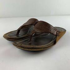 Tommy Bahama Premium Men 8 D Hawaiian Brown Woven Leather Sandals Flip flops