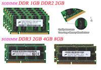 Lot Micron 8GB 4GB 2GB SODIMM Laptop Memory DDR2 DDR3 667 800 1333MHz RAM Intel