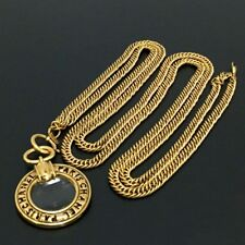 Auth CHANEL Loupe Pendant Long Chain Gold Tone Glass Metal Necklace/3225