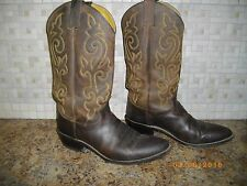 JUSTIN COWBOY BOOTS MENS SIZE 10 WESTERN STYLE BOOTS BROWN LEATHER BOOTS