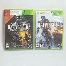 Battlefield 3 & Battlefield 4 (Microsoft Xbox 360, 2013) Lot Of 2 Tested & Works