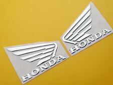 Motorcycles Gas Tank Fairing Emblems Decal Sticker for Honda Wing Set 3D Silver