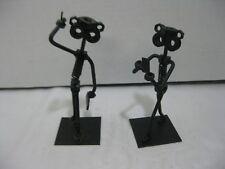 Woman and Man on Cell Phones Scrap Metal Nut Figurine Recycle Metal People