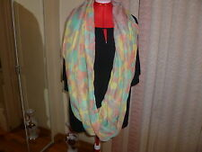 """NWT D&Y large infinity scarf/wrap/cover-up multi-color prints s70""""x43"""" 176x112cm"""
