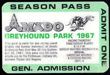 Amado Greyhound Park Dog Racing 1967 Season Pass Tucson Arizona