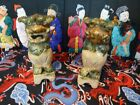 Pair of Beautiful Pottery Foo Dog Bookend Statues