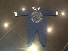 Juicy Couture New & Gen. Boys Blue Cotton Baby Grow With Feet 0/3 MTHS & Logo