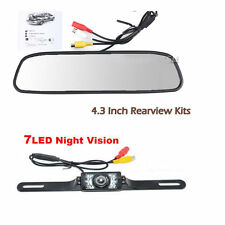 IR Night Vision License Plate HD Camera LCD Reversing Mirror Display Monitor Kit