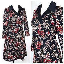 Vintage 60's Dress Mod Gogo Skater Floral A-line Fitted Long Sleeves UK12 EU38