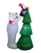 Inflatable Polar Bear Penguin with Christmas Tree 5 FT LED Gemmy Home Accents