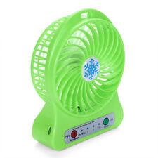 Green Portable Rechargeable LED Light Fan Air Cooler Mini Desk USB 18650 Fan NEW