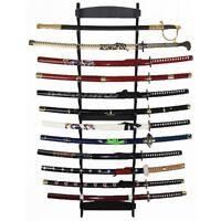 12-TIER FLOOR OR TABLE MOUNT WOOD DISPLAY SWORD KATANA HANGER STAND Samurai