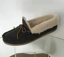 MINNETONKA Pile Lined Dary Gray Suede Moccasins (Size 10)