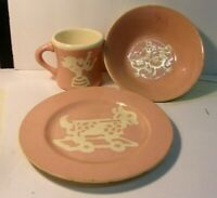 Harker CAMEOWARE 1940s Children Pottery - 3 pieces pink - Cup Bowl Plate