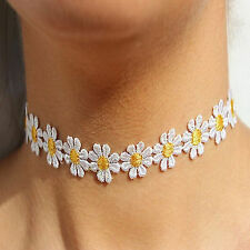 Daisy Choker Necklace, White & Yellow Flower Lace Boho Hippy Hippie U.S.A Seller