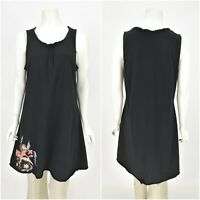 Womens Deerberg by OSKA A-Line Tunic Dress Black Cotton Basic Sleeveless Size L