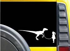Girl walking Velociraptor Sticker K626 8 inch dinosaur decal