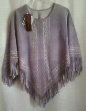 Margaret Godfrey Gray Suede Leather Poncho Cover Embroidered NWT  Sz S
