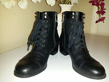 Bandolino BOCANDO Mid Calf Black Leather Boots Lace Up/Side Zip  Sz. 6,5M
