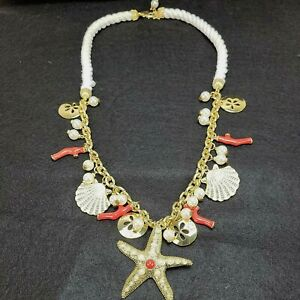 Lilly Pulitzer Chowdah Beach Necklace Gold Starfish Coral Jeweled SHELLS Pearls