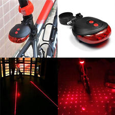 Red 2 Laser+5 LED Intermitente Luz Trasera Bicicleta Advertencia Seguridad