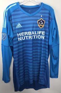 LA Galaxy MLS Adidas Men's Blue AdiPro Long Sleeve Goalkeeper Jersey AUTOGRAPHED
