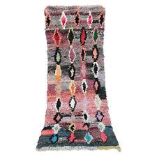 Old Vintage Moroccan Handmade Boujad Boujaad Rug Berber Wool Rug 7 FT X 2.8 FT