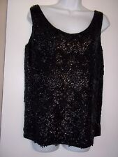 Voquemont Vintage Black Bead Sequin Pure Wool Sleeveless Top~Sz 42~ Elegant~NWT