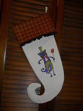 Black Cat King Handmade Embroidered Halloween Stocking