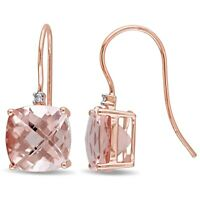 Emerald Cut Morganite Created Drop & Dangle Earrings 14K Rose Gold Plated