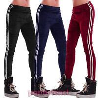Pantaloni donna leggings elastici aderenti righe velour palestra nuovi AB27