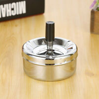 Stainless Steel Round Push Down Cigarette Ashtray with Spinning Tray Home Office