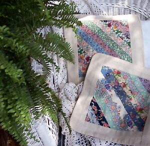 TWO Feed Sack  /  Flour Sack Pillow Covers. Multi colors