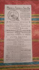 1949 Cartel Plaza de Toros Sevilla Juan Mena Parrita de Triana Manolo Cuevas....
