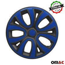 """15"""" Inch Wheel Rim Cover for Mercedes Matt Black with Dark Blue Insert 4pcs Set"""