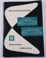 Betriebsanleitung VW Käfer Ausgabe 1959 Deutsch original  K-1558
