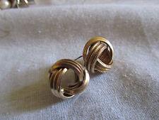 "Light Gold Tone Knot Earrings - 0.5"" across"