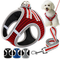 Reflective Step In Dog Harness &Leash Breathable Mesh Pet Cat Puppy Walking Vest