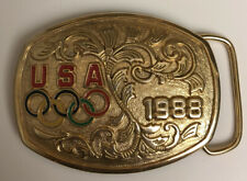VINTAGE 1988 USA Olympics Sports Belt Buckle Goldtone W/ Enamel Rings
