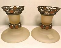 PartyLite Paris Retro Pair of Amber Taper Candlestick Holders Set of Two Retired