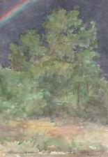 MARCUS ADAMS Watercolour Painting IMPRESSIONIST RAINBOW & TREES LANDSCAPE c1930