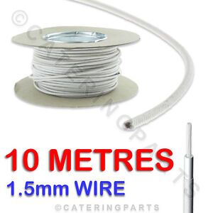 10 METRES of 1.5mm HEAT RESISTANT HIGH TEMPERATURE GLASS FIBRE CABLE WIRE