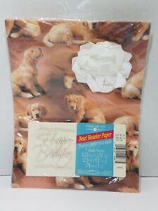 Vtg American Greetings Golden Retriever Birthday Wrap Puppy 1 Sheet 8.33 Sq Ft