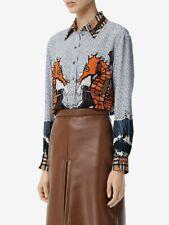 NWT  Burberry seahorse and monogram print silk shirt Size 12