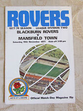 The Official Match Day - Magazine Of Blackburn Rovers & Mansfield Town 1977